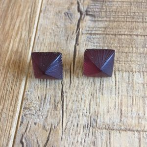 Alexis bittar red lucite pyramid stud earrings